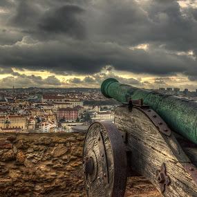 Canon fire by Dbart ... - Landscapes Travel ( clouds, são jorge castle, lisbon, cannon,  )
