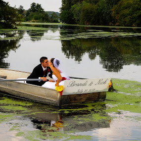 Wedding Rowboat Kiss by Sandra Rust - Wedding Bride & Groom ( wedding rowboat kiss )