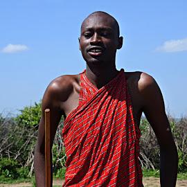 Maasai man by Cyndi Rosenthal - People Portraits of Men ( africa tribal maasai man )