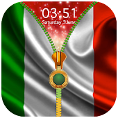 Italy Flag Zipper Lock Screen APK for Bluestacks