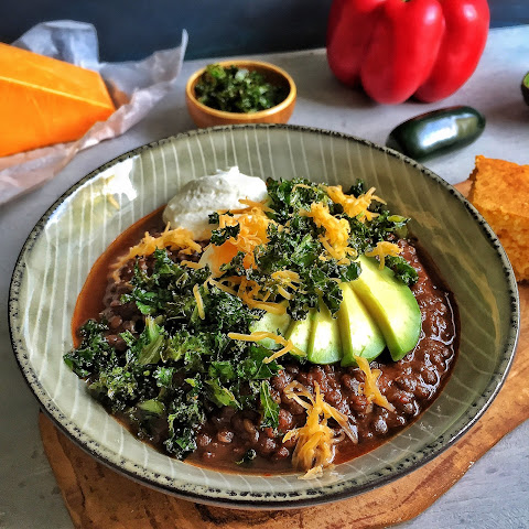 Beluga Lentil Chili with Crispy Kale