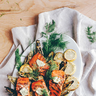 Grilled Wild Salmon, Fennel, And Corn With Dill Butter + Yummy Supper Cookbook Giveaway