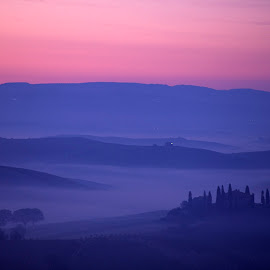 Foggy blue Tuscan hills at sunrise by Gale Perry - Landscapes Prairies, Meadows & Fields ( hills, peaceful, tuscany, fog, blue, dramatic, pink sunrise sky, italy, belvedere )