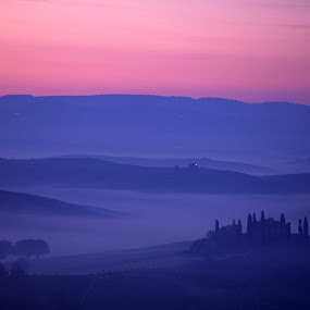 Foggy blue Tuscan hills at sunrise by Gale Perry - Landscapes Prairies, Meadows & Fields ( hills, peaceful, tuscany, fog, blue, dramatic, pink sunrise sky, italy, belvedere,  )