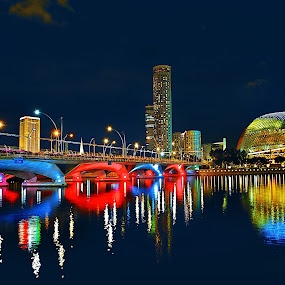 Esplanade Bridge at Night by Welly Agus - City,  Street & Park  Night ( cityscape, photography, singapore, esplanade, nightscape )