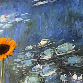 Flower competing with Painting  by Lorraine D.  Heaney - Artistic Objects Signs