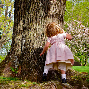 Curiosity Leads Human Kind Forward  by Emily Jones - Babies & Children Toddlers ( child, girl, tree, beautiful, pink )