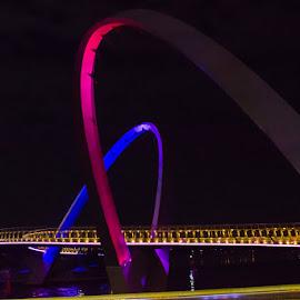 Elizabeth Key, Perth by Photoxor AU - Buildings & Architecture Bridges & Suspended Structures ( illuminated, perth, colorful, australia, night, bridge, elizabeth key, western australia )