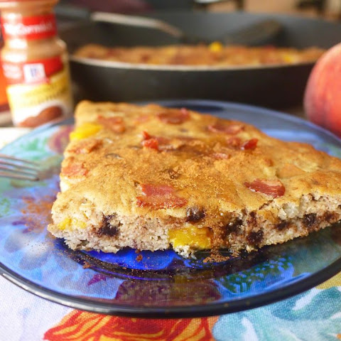 Peach, Bacon, and Chocolate Chip Baked Paleo Pancakes (GF)