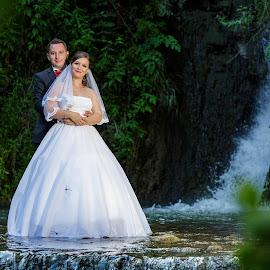 Trash the dress by MIHAI CHIPER - Wedding Bride & Groom ( love, water, waterfall, bride and groom, trash the dress )