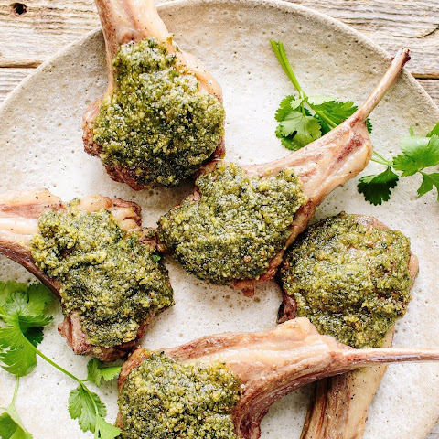 Lamb Chops with Pesto Croute