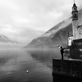 &w by Kevin Spagnolo - Instagram & Mobile iPhone ( lake, como, sky, water, church, musicvideo, thornbirds, iphone, b, fog, mountain )