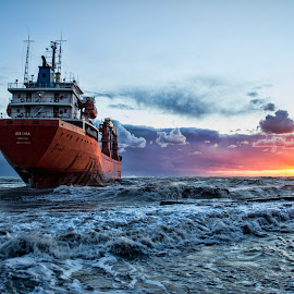 Stranded ship by Gianluca Presto - Transportation Boats ( clouds, stranded, sky, hdr, sunset, ship, cloudy, sea, beach, boat, italy )
