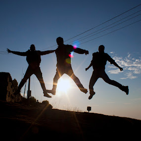Rise along with the sun by Md Mukibul Islam - People Fine Art ( fly high, silhoutte, sunrise, people, jump )
