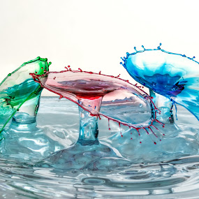 Triple Double-Drop Single Shot by Steve Kazemir - Abstract Water Drops & Splashes ( water, macro, red, splash, blue, drop, green, triple, rgb, double )