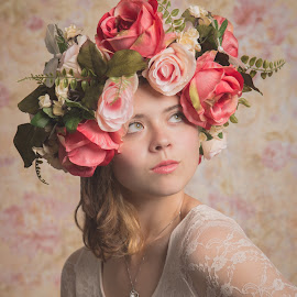 Jolie Comme Une Fleur by Darcy Bloom - People Portraits of Women ( portrait photography, octobox, female pose, gorgeous, model mayhem, soft light, romatic, loop lighting, flower crown, reflector,  )