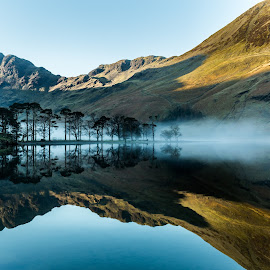 Buttermere by Ryan Bedingfield - Landscapes Waterscapes ( mountain hill buttermere  trees water reflections )