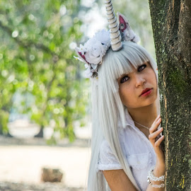 Forest magic by Pilar Gonzalez - People Fashion ( magic, costume, unicorn, forest, young girl )