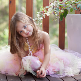 Tulle and necklaces by Belle Farley - Babies & Children Child Portraits ( long hair, beads, tulle, ballerina, pretty, portrait, soft, child, girl, sitting, tutu, pink, deck, necklace )