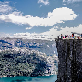 Preikestolen, Norway by Hafsteinn Kröyer Eiðsson - Landscapes Travel ( photograph, mountain, waterscape, rocky, canon efs, ocean, travel, landscape, canon eos, people, photography, hiking, norway, fjord, preikestolen, clear, eos, tree, sunshine, grey, efs, summertime, rocks, sightseeing, canon eos 760d, grass, green, cliff, cloudscape, sea, forest, canon efs 17-85mm, skyscpe, traveling, red, bay, blue, landscape photography, summer, trees, view, high, travelers )