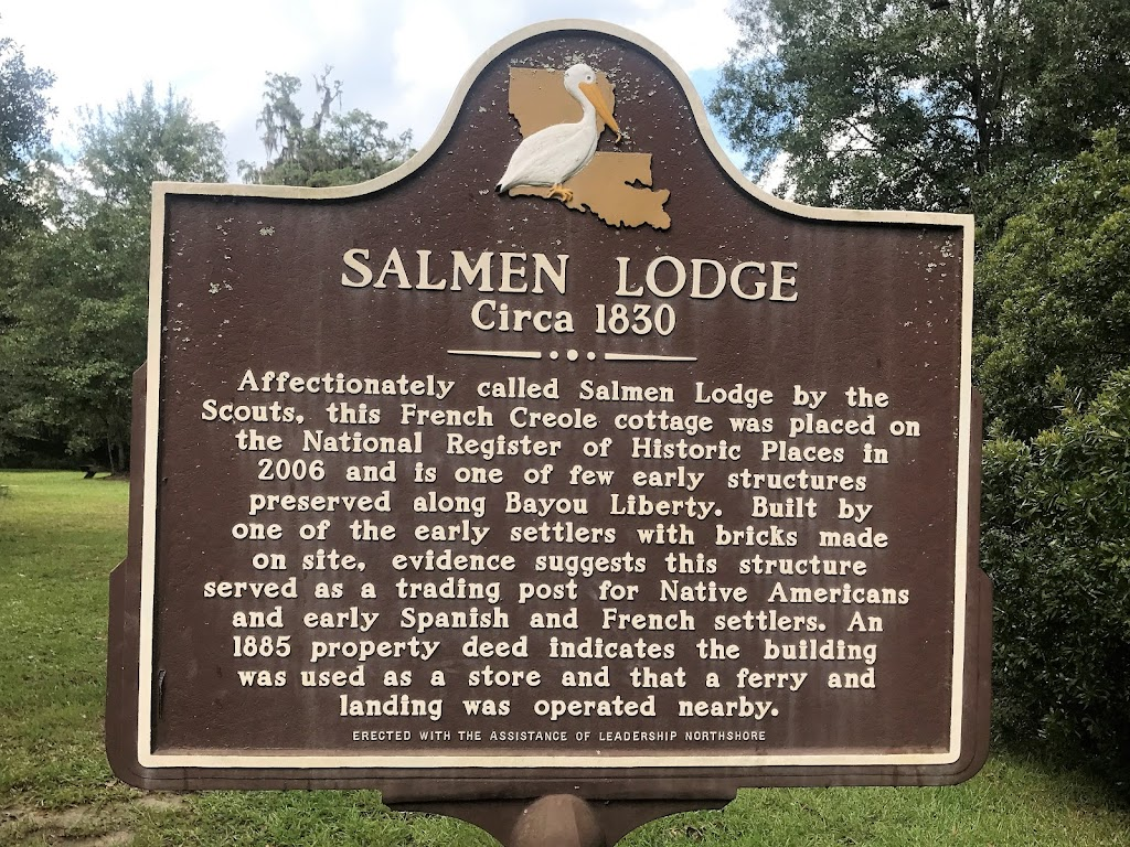 Affectionately called Salmen Lodge by the Scouts, this French Creole cottage was placed on the National Register of Historic Places in 2006 and is one of a few early structures preserved along Bayou ...
