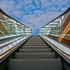 stairway to heaven by Erich Werner - Digital Art Abstract ( elevator, stairway, heaven, digital art, escalator )