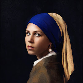 The Girl with the Pearl Earring by Tyler Oxley - People Portraits of Women ( model, girl, jewelry, painting )