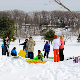 Snow day at the park. by Peter DiMarco - People Street & Candids ( playing, candids, snow fun, candid, people )