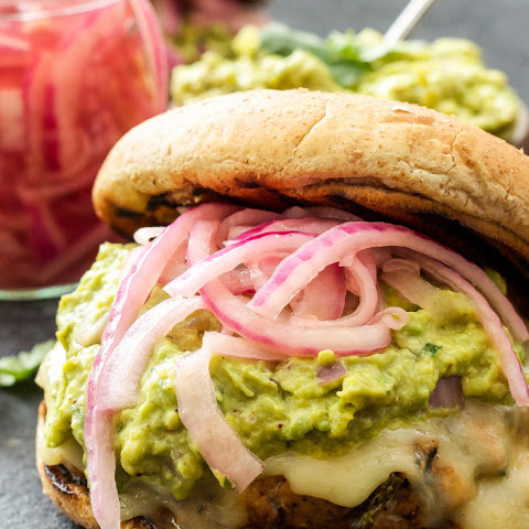 Green Chile Turkey Burgers with Guacamole and Pickled Red Onions