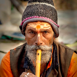 The flute man I met .. by Prabir Sen - People Street & Candids ( candid, men, portraits, people, street photography )
