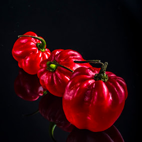 Red Hot Chili Peppers by Juha Kauppila - Food & Drink Ingredients ( reflection, red, hot, black, chili, shiny )