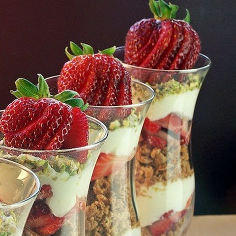 Strawberry Cannoli Parfaits with Pistachios