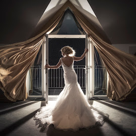 Perfect Storm by Adrian O'Neill - Wedding Bride ( wind, dress, wedding, bride, curtain )
