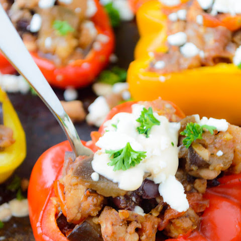 Mediterranean Ground Turkey Stuffed Bell Peppers with Chunky Feta Hummus Dressing