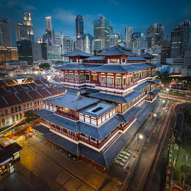 Ancient within Modern by Freddy Ng - Buildings & Architecture Places of Worship ( ancient, buddha' temple, blue hour, modedern, musem, singapore, city at night, street at night, park at night, nightlife, night life, nighttime in the city )
