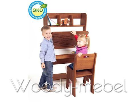 Детская мебель: парта с пеналом, надстройкой, стулом (Школярик1)