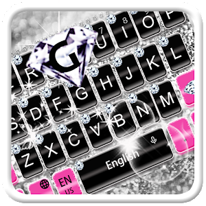 Pink Silver Diamond Keyboard Theme
