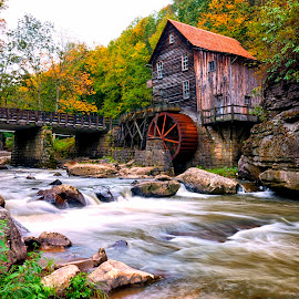 Glade Creek Mill by James Gramm - Buildings & Architecture Public & Historical ( water, mill, sky, fall, trees, long exposure, rocks )