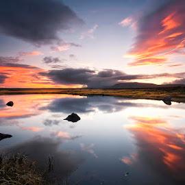 Autumn Sunset  by Þorsteinn H. Ingibergsson - Landscapes Waterscapes ( clouds, iceland, sky, nature, structor, landscape )