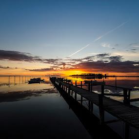 Sunset at Lindelse by Kim  Schou - Landscapes Sunsets & Sunrises ( water, kim schou, sunset, nakskov fjord, lindelse, jetty, september, , blue, orange. color )