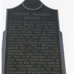 In 1944 the Orsel McGhees, a black family, moved here into what was then an all-white neighborhood. A neighboring family won a court order revoking the McGhees' purchase of the house on the basis of ...