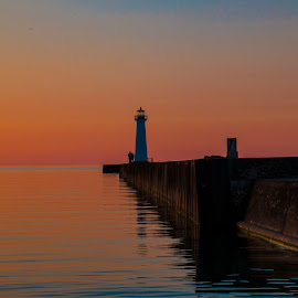 Lighthouse at Sunset by Ann Oliver - Landscapes Waterscapes ( oliver, colors, sunset, lighthouse, sodus point )