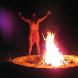 Lammas by Tina Dare - Abstract Fire & Fireworks ( lammas, nature, person, night, fire, abstract, flames, bonfire )