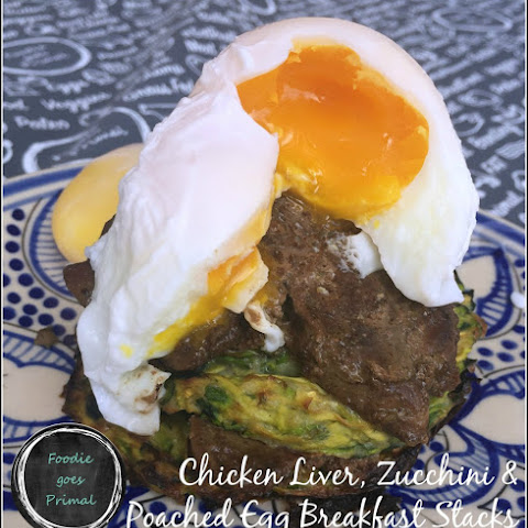 Chicken Liver, Zucchini & Poached Egg Breakfast Stacks