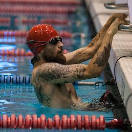 Ray Hennagir by Elk Baiter - Sports & Fitness Swimming ( warrior, marine, games, 50 meter, swim, backstroke, ray hennagir )