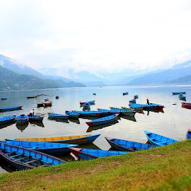Pokara Lake, Nepal by Durga Lal  Verma - Transportation Boats ( canon 600d, durga lal verma, canon 18-55 )