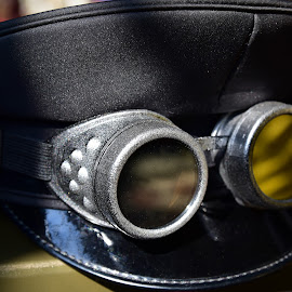 by Marco Bertamé - Artistic Objects Clothing & Accessories ( cap, silver, goggles, yellow, steampunk, black )