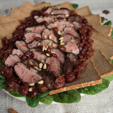 Duck with Cherries, Spinach & Pine Nuts