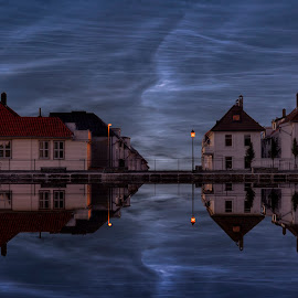 Night sky. ( Noctilucent Clouds ) by Rune Askeland - City,  Street & Park  Neighborhoods ( bergen, reflections, lake, night, norge, noctilucent clouds, norway, skansen )