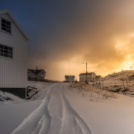 Sacristy White Houses by Hans Logren - Landscapes Weather ( clouds, winter, snow, landscape photography, house, sunrise, landscapes, landscape, lofoten, norway )